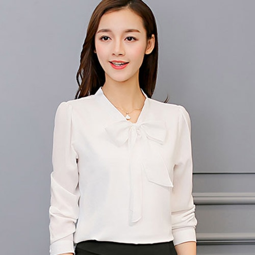 Harajuku New Spring Summer Blouse Women Long Sleeve Shirt Fashion Leisure Chiffon Shirt Bow Office Ladies Pink White Tops -CH28  - buy with discount