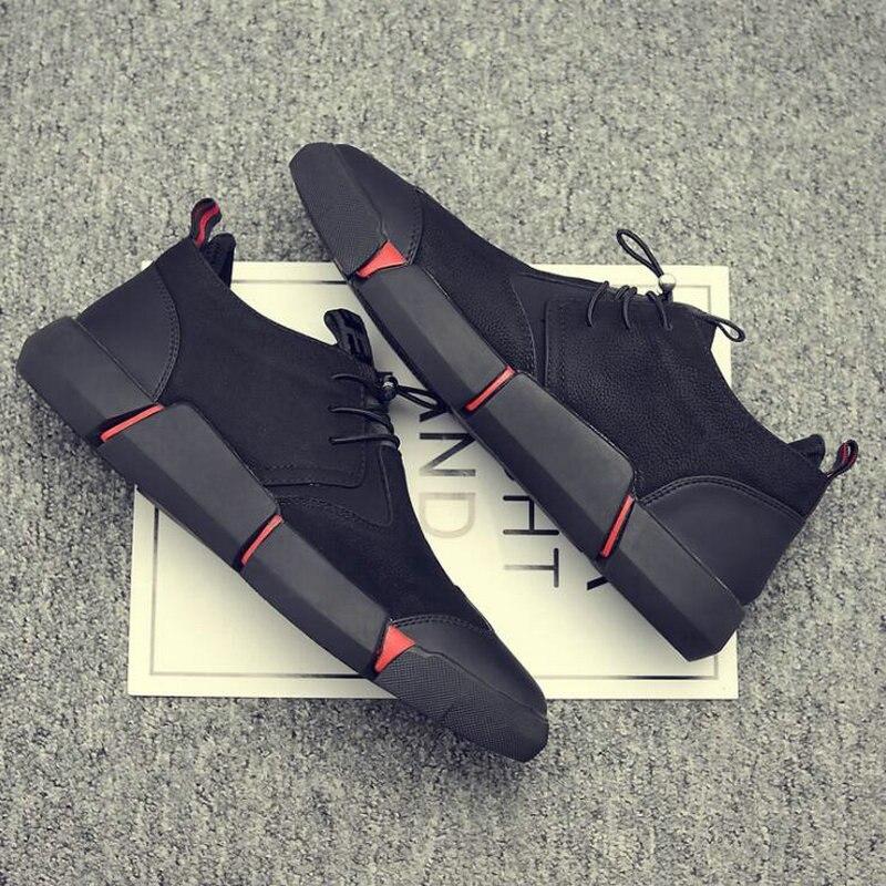 حذاء رياضي من الجلد الأسود للرجال ، حذاء كاجوال عالي الجودة ، عصري ، دافئ مع فرو مسطح ، مقاس كبير 45 46