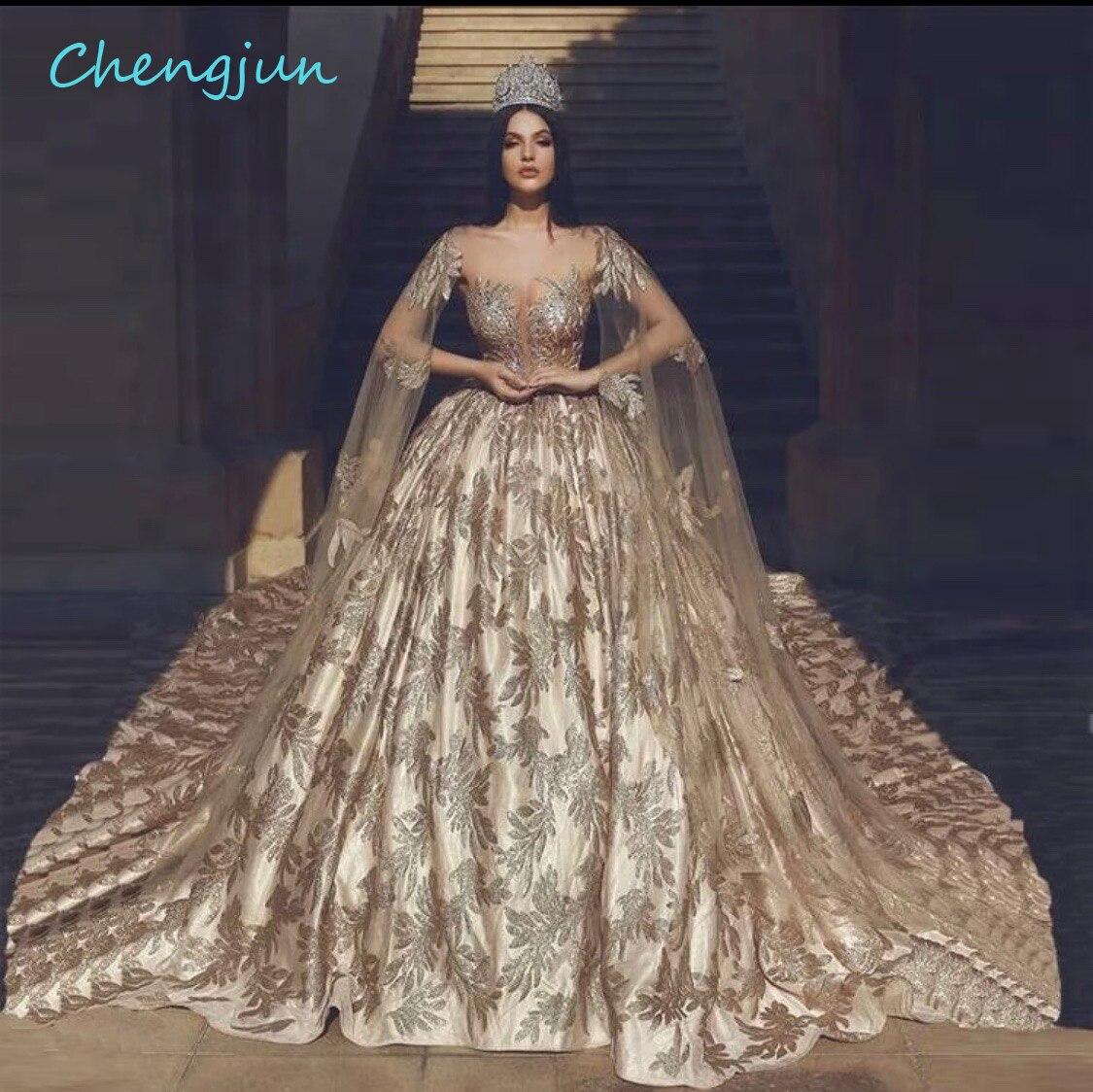 Chengjun-ثوب كرة ذهبي للنساء ، قمصان علوية شفافة ، دانتيل مثير ، فستان زفاف فاخر بأكمام