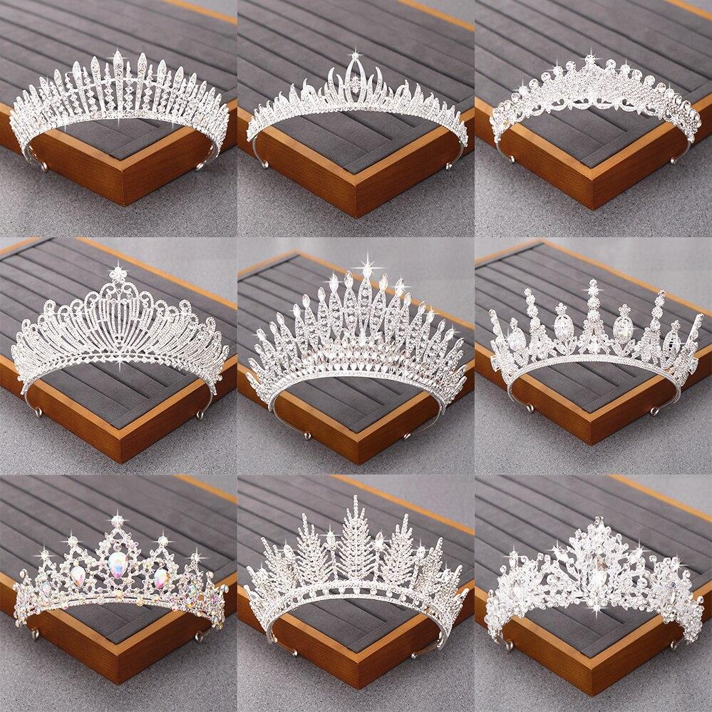 Tiara nupcial, accesorios para el cabello de boda, corona de brillantes de cristal para novia, Tiaras para niña, joyería de Color plateado para el cabello, diadema