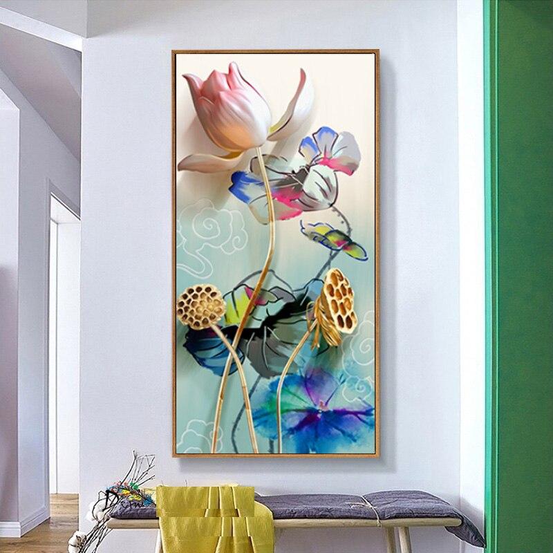 Художественная живопись настенные картины для гостиной в китайском стиле акварель цветок лотоса рыба домашний декор холст печать плакат г...