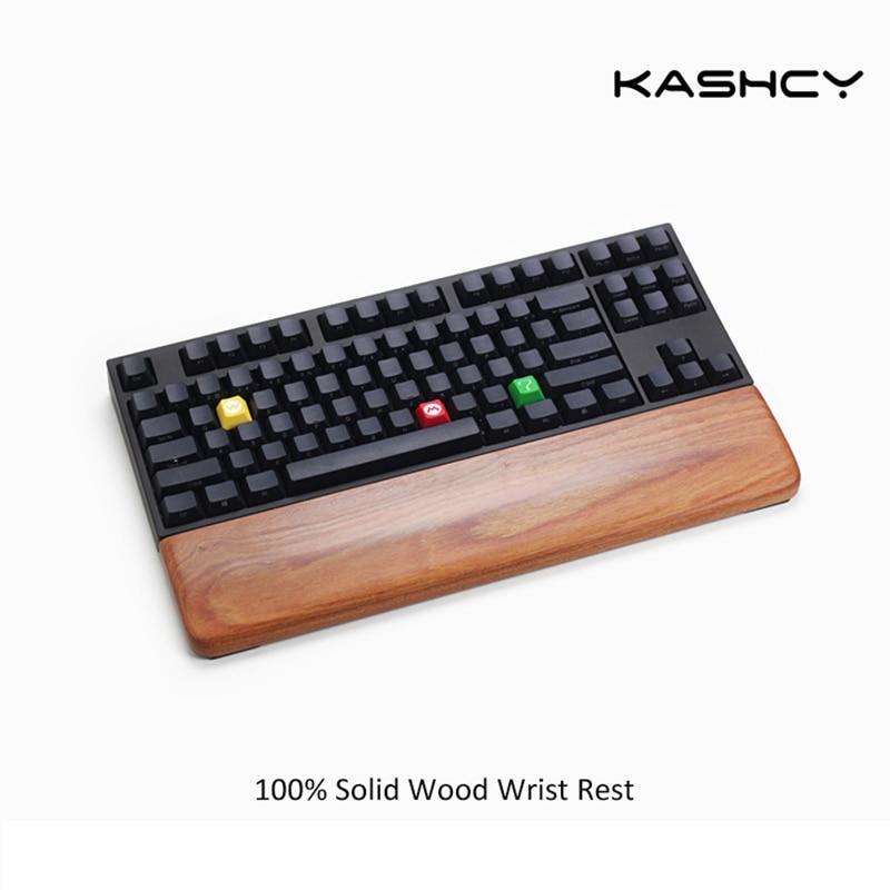 Kashcy sólido de madera de bubinga palm rest para ergonómico mecánico de juegos teclado soporte pad 60 87 104 de 108 llaves