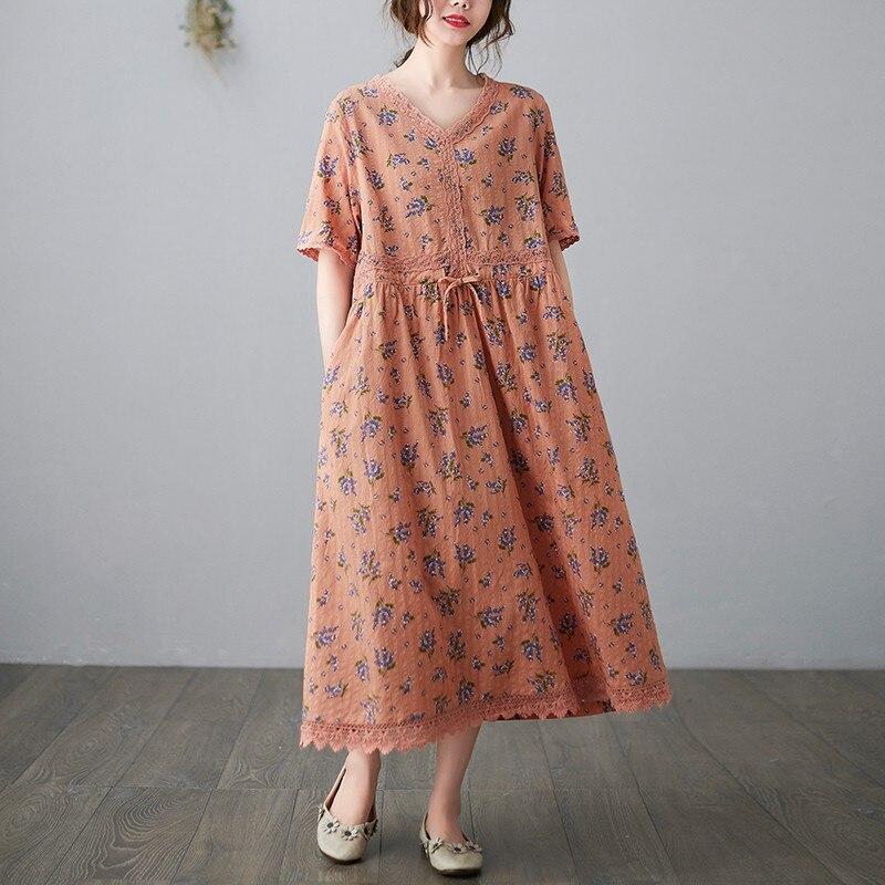 المرأة الصيف القطن الكتان فستان طويل جديد وصول 2021 خمر نمط الدانتيل الخامس الرقبة الأزهار طباعة فضفاضة الإناث فساتين غير رسمية B264