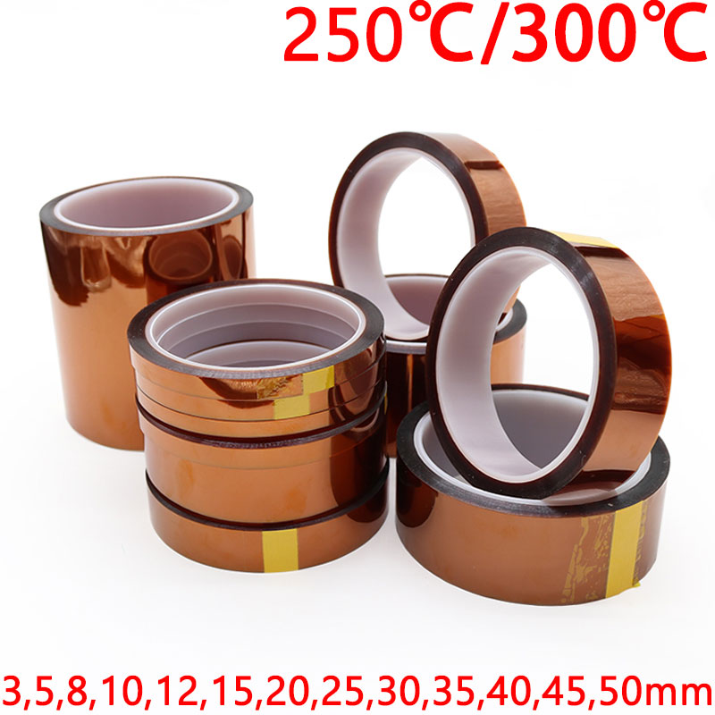 1pcs 33m heat resistant polyimide tape high temperature adhesive insulation tape for bga electronic repair pcb smt 3mm - 50mm Polyimide Adhesive Tape BGA PCB 3D Printing Board Protection High Temperature Heat Resistant Electronic Insulation