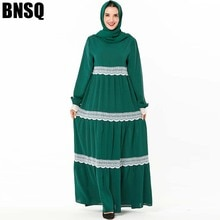 BNSQ Elegant Mesh Lace Women Dress Elastic Cuff Pray Long Sleeve Party Loose Maxi Elastic Large Pleated Abaya Muslim Dresses