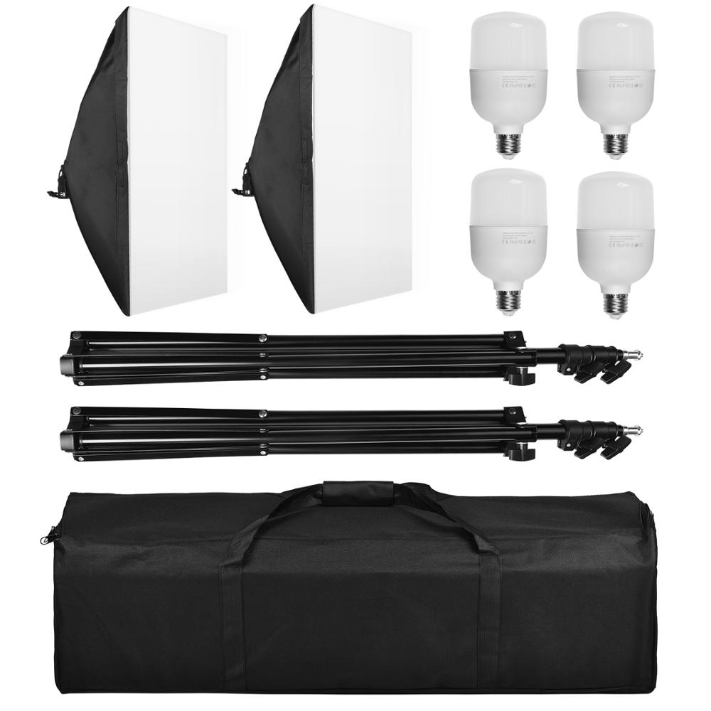 ZUOCHEN Photography 100W 50x70CM Softbox Lighting Kit With E27 Socket Soft Box Camera Accessories For Photo Studio Video enlarge