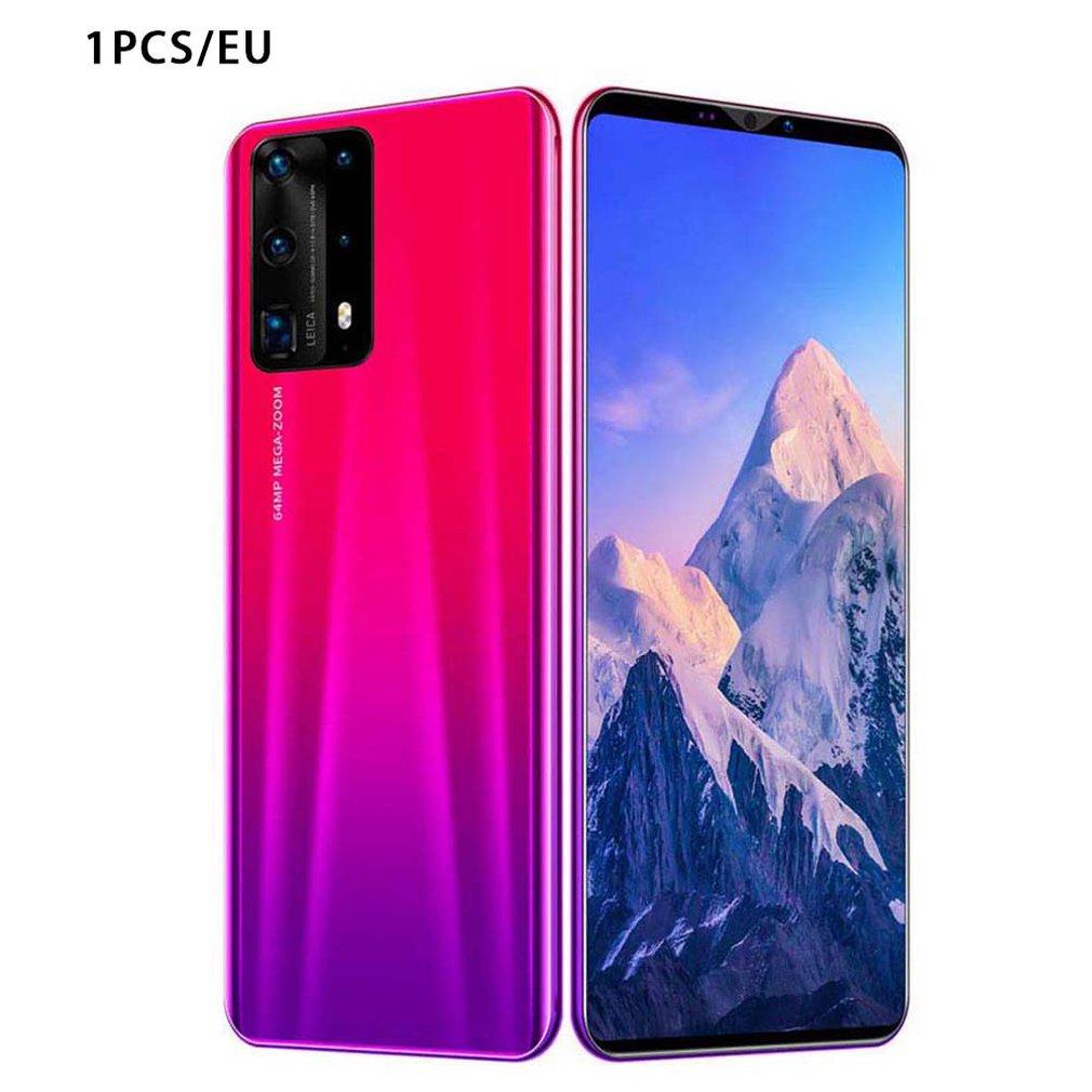 هاتف P40 Pro ثنائي النواة ، هاتف ذكي بشاشة 5 بوصة ، 512M 4G Android ، هاتف ذكي ، غطاء خلفي مطلي بالزجاج ثلاثي الأبعاد ، أحمر