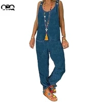 summer plus size jumpsuits women imitation denim sleeveless jumpsuit fashion pockets casual thin rompers long overalls