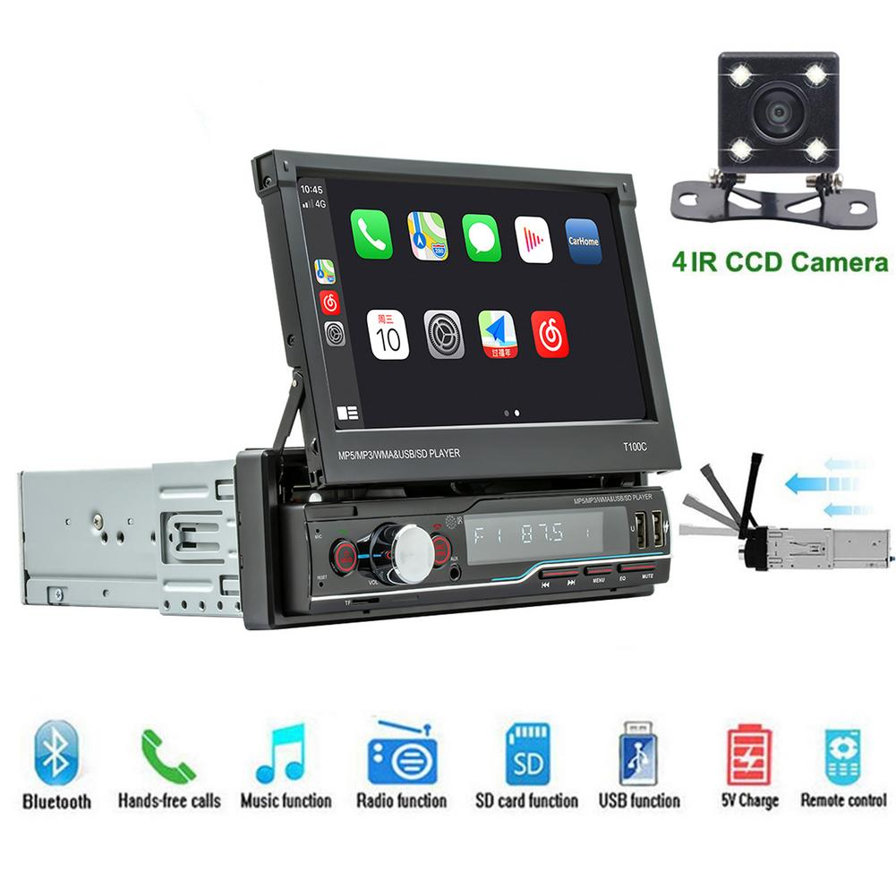 Review Car Stereo 7 Inch 1 DIN Apple Car Play Touchscreen Retractable Car Radio MP5 Player Universal Auto Stereo GPS MAP Player
