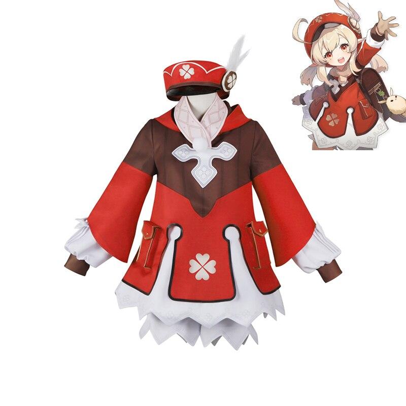 جديد لعبة Genshin تأثير تأثيري حلي Klee تأثيري ازياء مجموعة كاملة كرنفال هالوين ازياء الكبار S-XL
