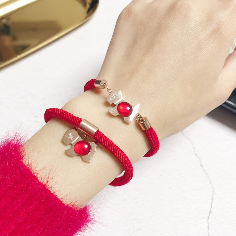 The Year of the Dog and the Animal Year Titanium Steel Puppy Bracelet Female Hand Good Luck Red Rope
