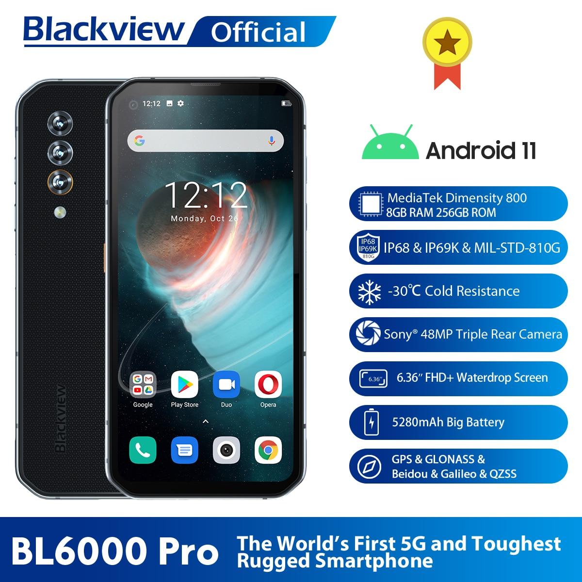 Blackview BL6000 برو 5G الهاتف الذكي IP68 مقاوم للماء 48MP الثلاثي كاميرا 8GB RAM 256GB ROM 6.36 بوصة النسخة العالمية الهواتف المحمولة