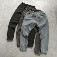 Winter Kanye West Heavy cotton Fleece Sweatpants High Quality Hip Hop Distressed Jogger Pants