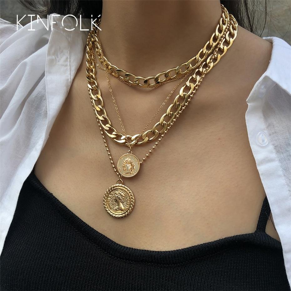 Kinfolk punk em camadas cubana pingente colares para mulheres retrato gargantilha colar esculpido moeda pingente grosso colar jóias