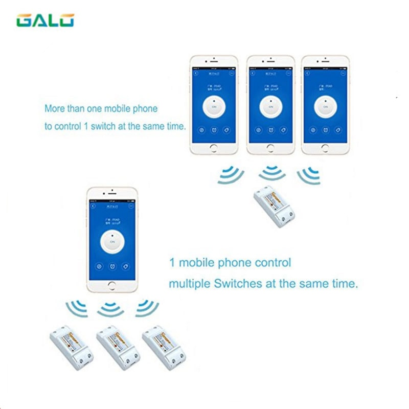 Interruptor Wifi, módulo de automatización de domótica Universal, temporizador inalámbrico Diy, control remoto a través de IOS Android 10A/2200W