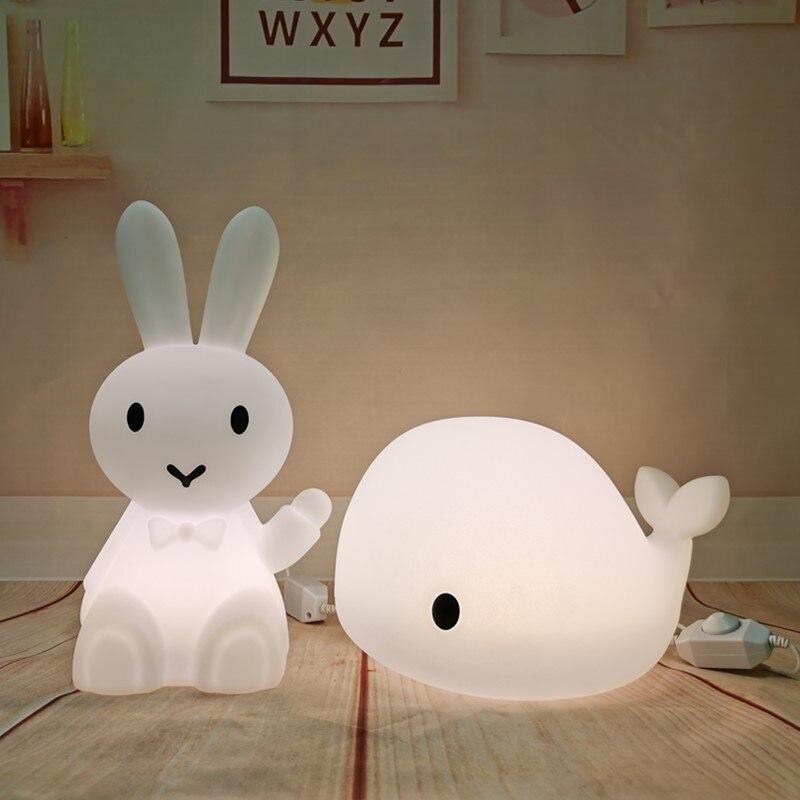مصباح LED كبير الحوت للأطفال ، تصميم أرنب كرتوني ، مصباح طاولة بجانب السرير ، هدايا الكريسماس ، مجموعة جديدة