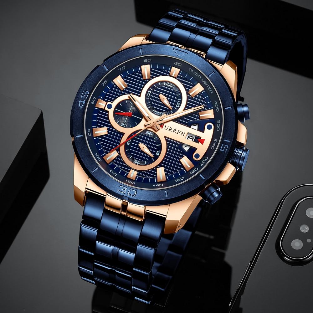 CURREN biznesowy zegarek męski luksusowa marka nadgarstek ze stali nierdzewnej chronograf wojskowy kwarcowy es Relogio Masculino