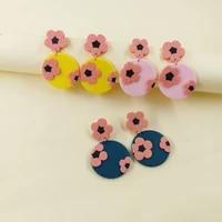 amorcome 2021 korean creative 3d cute flowers soft clay earrings for women round geometric earring jewelry gift