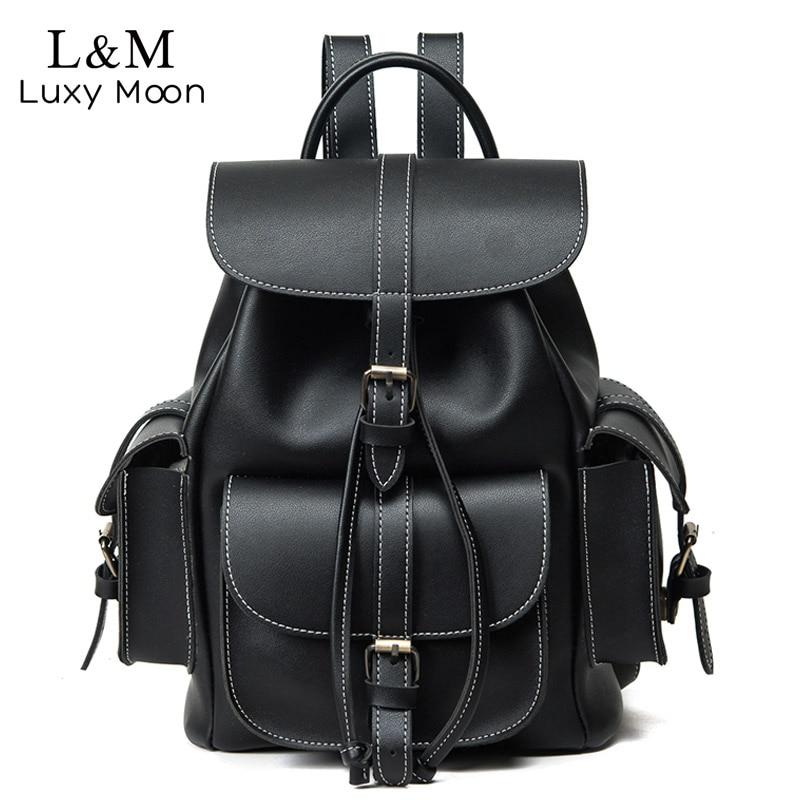 Vintage Drawstring Backpack Women High Quality PU Leather Backpacks Sac a Dos Black 2021 Shoulder Bag Female School Bags XA1179H