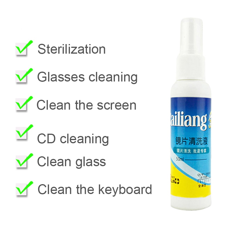 50ML Screen Cleaner Spray Glass Lens Cleaner Sunglass Eyeglass Phone Computer Screen Cleaning Anti-f