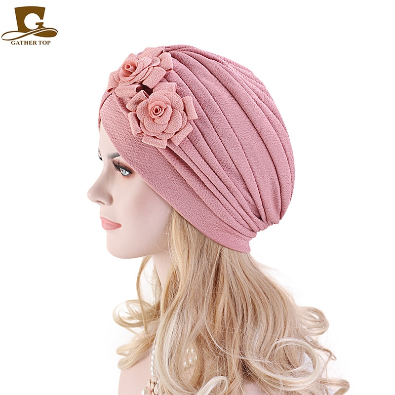 New Big Flower Soild Color Turban Knotted Style Women Muslim Cap India Cap Scarf Head Cover Islamic Women Hair Accessories