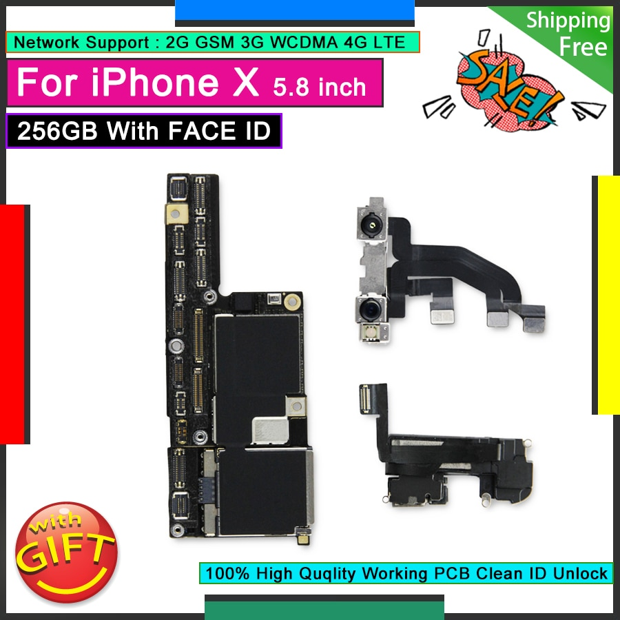 Review For IPhone X 256GB with Face ID Unlocked Motherboard Good Mainboard Free iCloud Original Logic Board Working Face Function