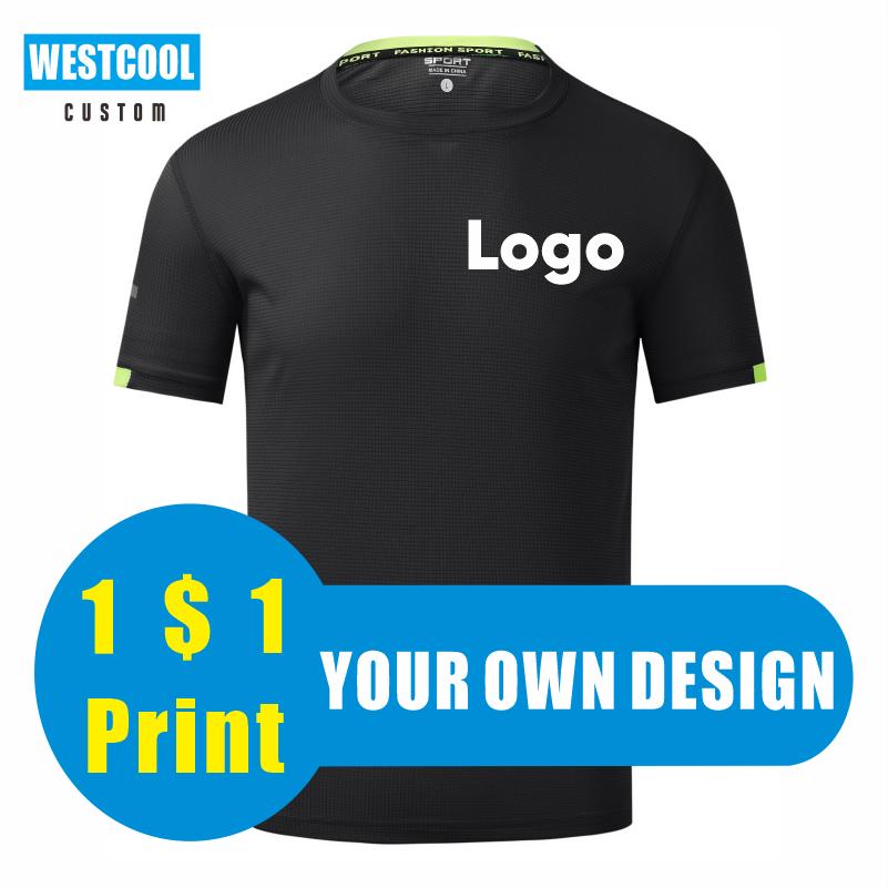 Быстросохнущая футболка из полиэстера с круглым вырезом на заказ, Спортивная Футболка с вышивкой логотипа, персонализированный дизайн ...