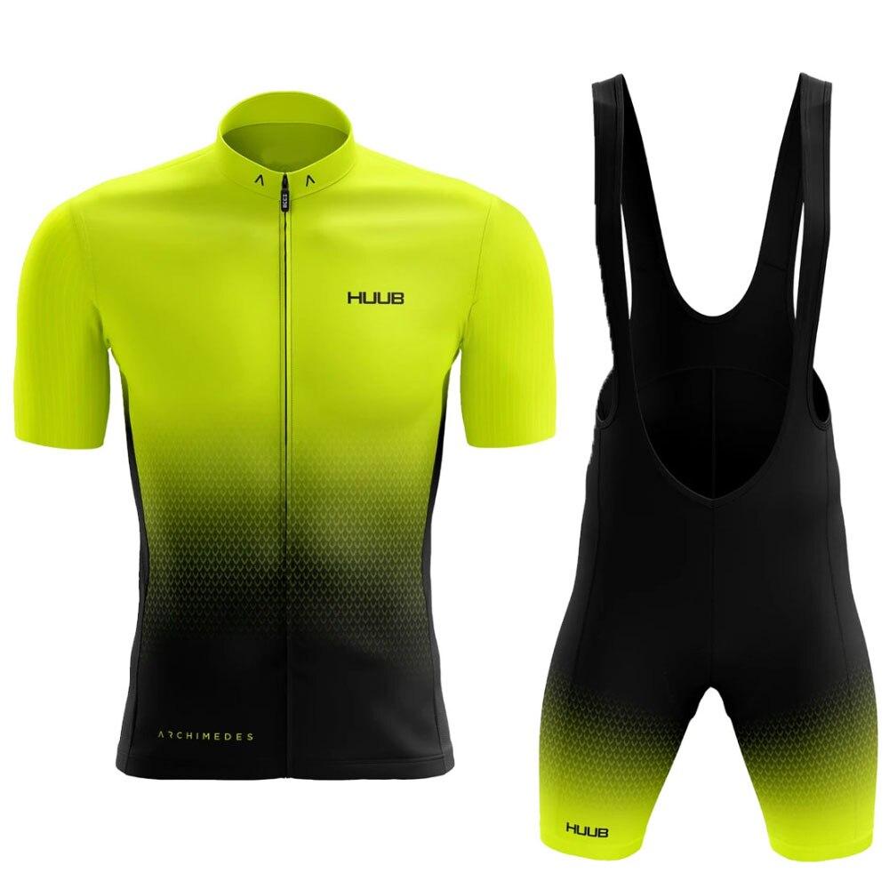 2021 HUUB Men's cycling clothing  fluo yellow cycling jersey set Bicycle shorts Pants Road Bike Clot