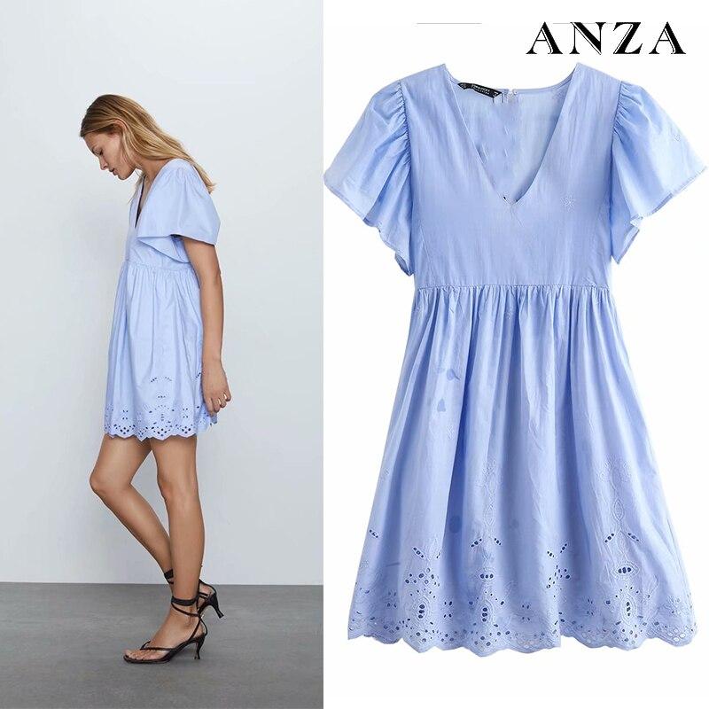 ANZA Women Minidress 2020 New Za Fashion Embroidery Short Sleeve Elegant Casual A-line Loose Dress Summer Blue Minidress