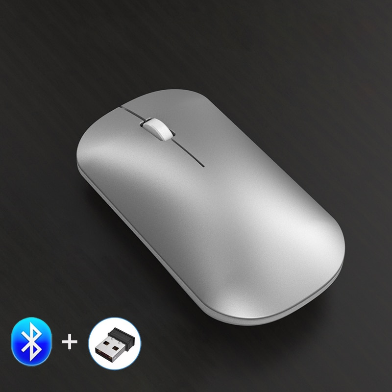 Rato de bluetooth para ipad sem fio rato recarregável rato de rato de mac bluetooth 5.0 + 2.4ghz sem fio mause modo duplo para android