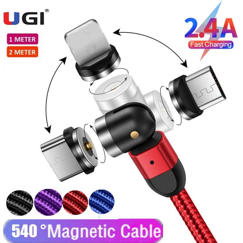 UGI-Cable magnético 3 en 1, cargador de carga rápida de 2.4A, giro...
