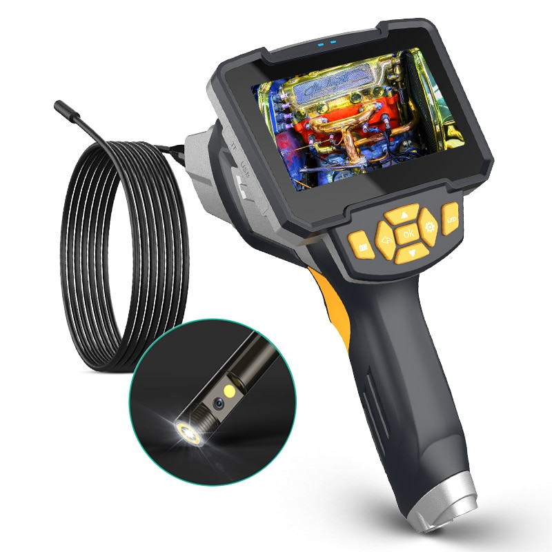 Review Dual Lens Endoscope Camera Handheld with 4.3 inches Screen Borescope Camera Rigid Endoscopic Camera Engine Drain Pipe Inspection