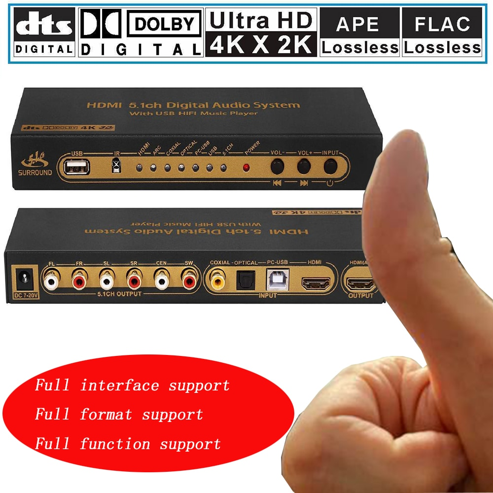 Hdmi 5.1 conversor de áudio decodificador dac dts ac3 flac pcusb ape 4 k * 2 k hdmi para hdmi extrator conversor divisor digital spdif arco