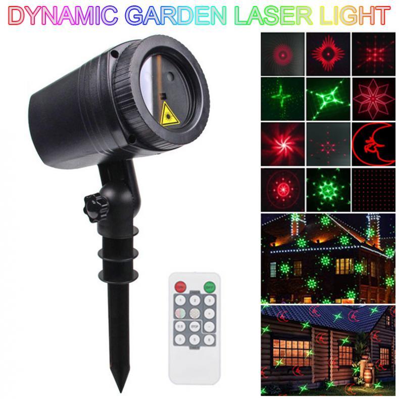 WL-502D 12 rojo/Verde patrones dinámicos impermeable LED al aire libre lámpara de césped proyector de luz láser con Control remoto RF
