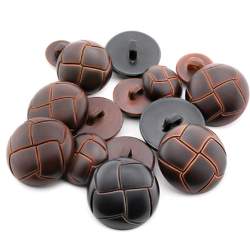 Nuevos botones redondos de imitación de cuero de 10 Uds de plástico para accesorios de costura decorativos de ropa
