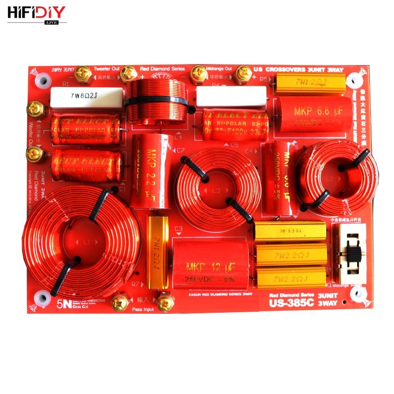 HIFIDIY لايف US-385C 3 طريقة 3 وحدة مكبر الصوت (مكبر الصوت + منتصف + باس) HiFi الرئيسية مكبرات الصوت تردد مقسم مرشحات كروس