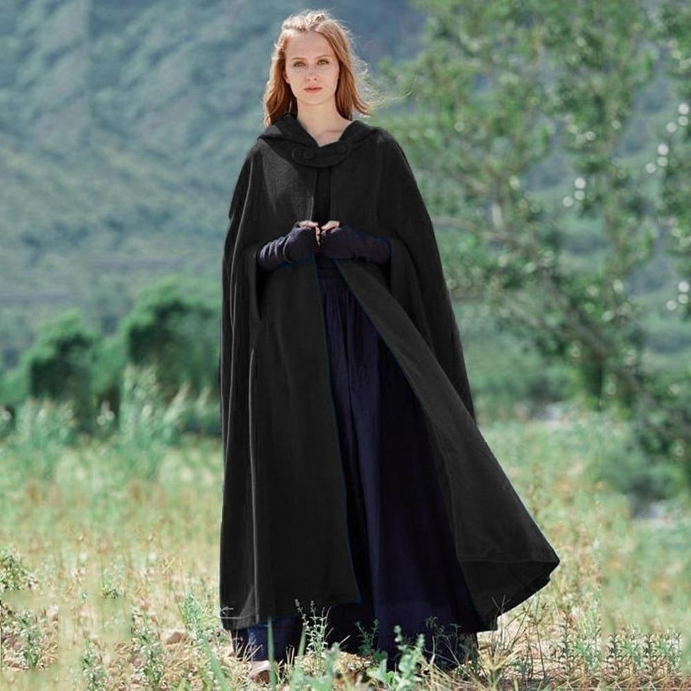 ZOGAA Brand HOT Women's Cloaks Solid Vintage Thick Hooded Floor-Length Medieval Long Cape Hoods Overcoat Long Cloak Windbreak