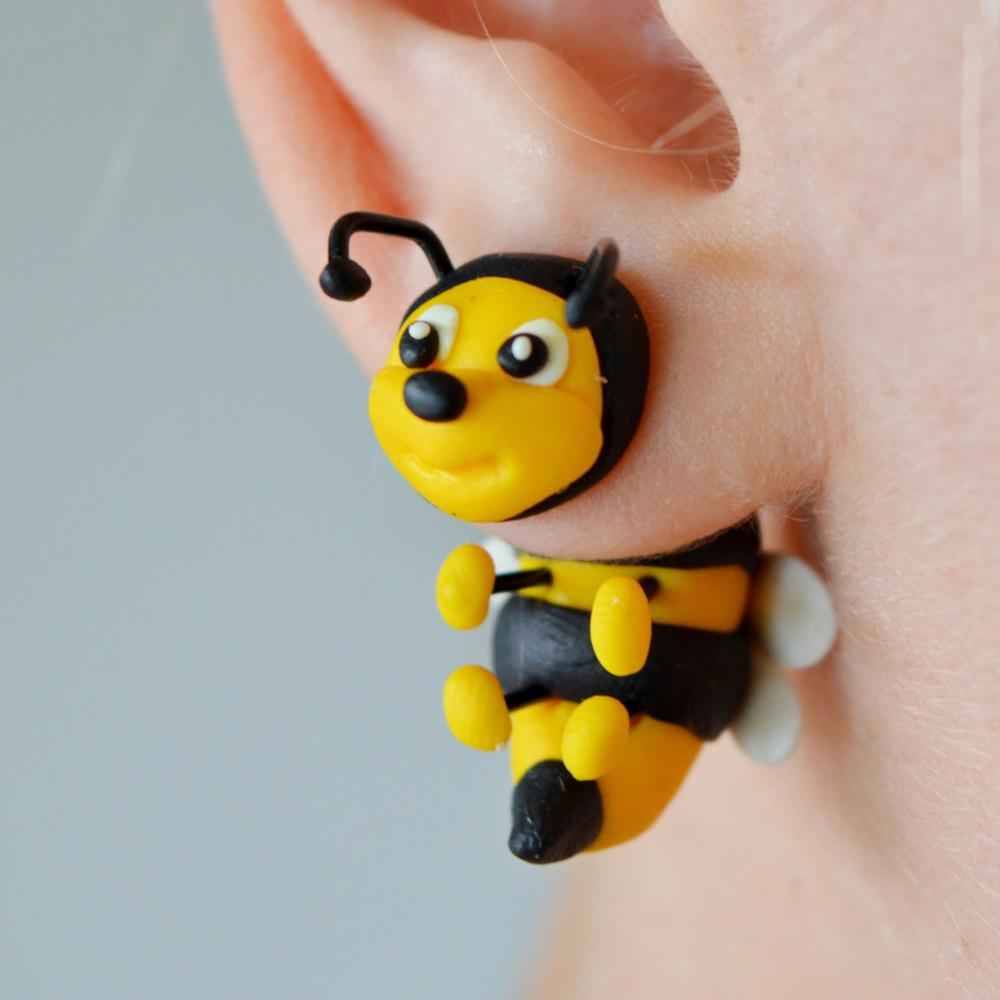 TTPAIAI 30 Polymer Clay Cute Bee Earrings For Women Girls Fashion Jewelry Handmade 3d Kawaii Animal Stud Earrings Kids Gift