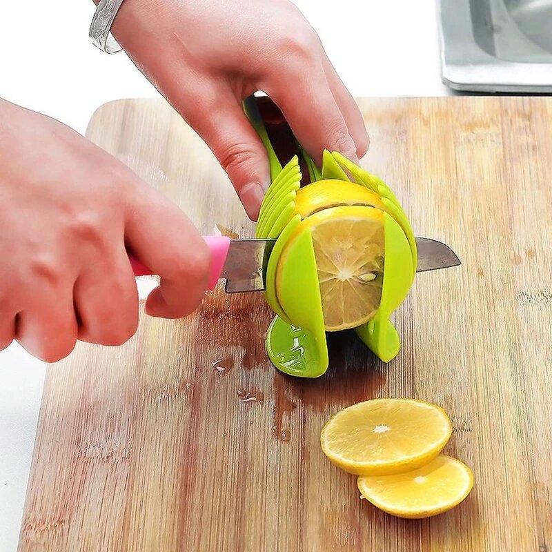 1Pc Kitchen Gadgets Plastic Potato Slicer Tomato Cutter Tool Shreadders Lemon Cutting Holder Cooking Tools Kitchen Accessories