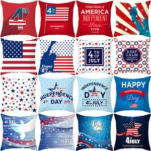 American Independence Day Pillowcase Plush Digital Printing Pillow Cover Home Decoration Car Pillow Cover Fourth of July