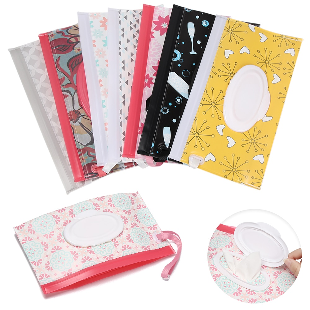 Baby Product Snap-Strap Wet Wipes Bag Flip Cover Cosmetic Pouch Tissue Box Stroller Accessories Carr