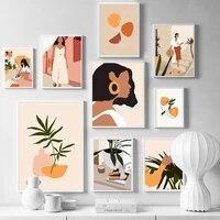 Abstrait mode Vintage fille mur Art toile peinture nordique affiches et impressions photos murales pour salon decor a la maison