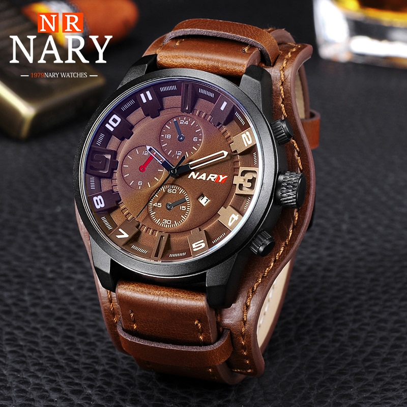 Nary Man Watch Fashion Steampunk Men Sports Watches Wide Leather Strap Quartz Wristwatches Clock Reloj Hombre Relogio Masculino weide men watches sports military strap white dial movement analog clock quartz wristwatches waterproof relogio masculino reloj