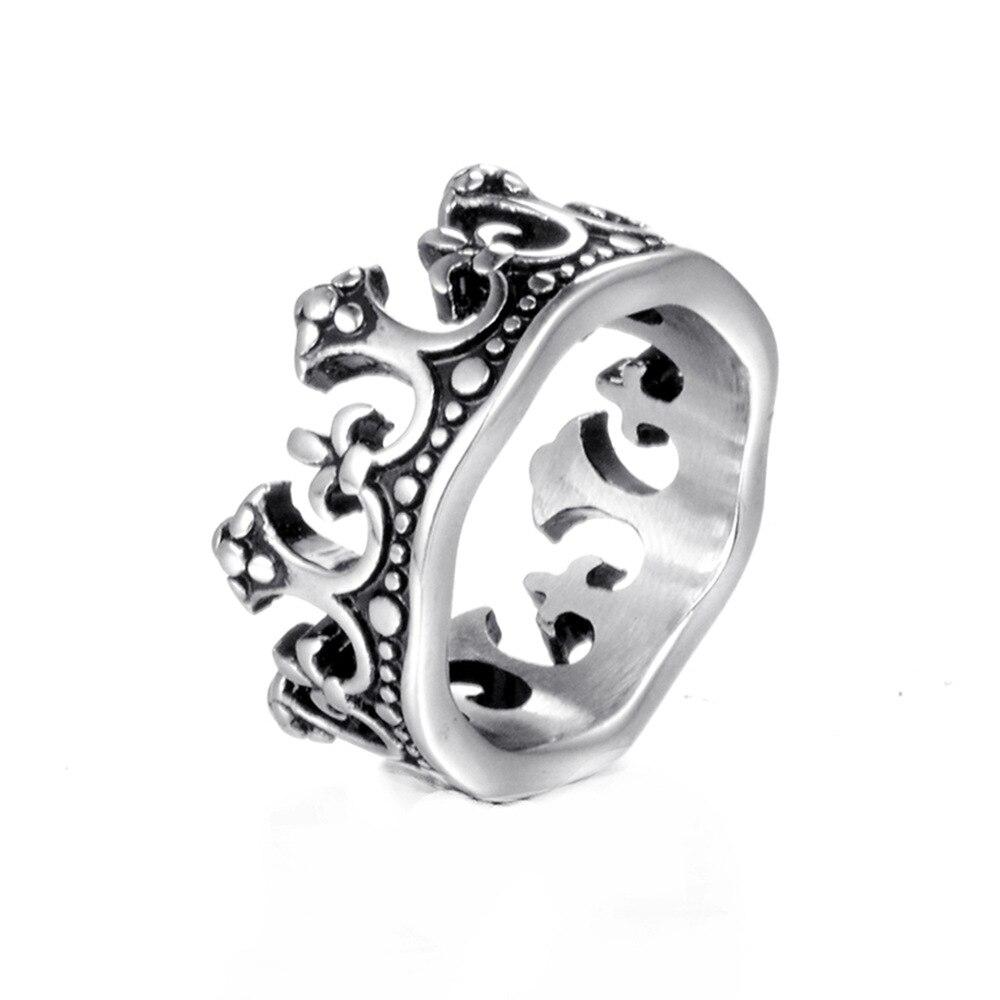Moda vintage gótico coroa anéis retro prata cor antiga masculino anel de aço inoxidável metal eua tamanho 7-13