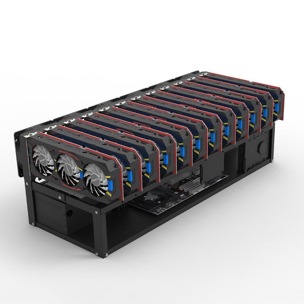 6/8/12 GPU فتحات دائم جهاز تعدين مفتوح الإطار حالة بيتكوين Ethereum عامل منجم جهاز تعدين علبة برف تكويم عامل المنجم الكمبيوتر