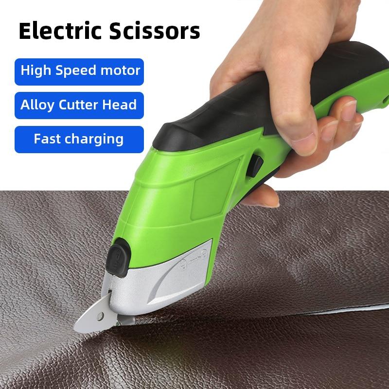 Inalámbrico portátil eléctrico tijeras de mano cortador eléctrico tijeras tela de cuero corte de tela recargable de coser