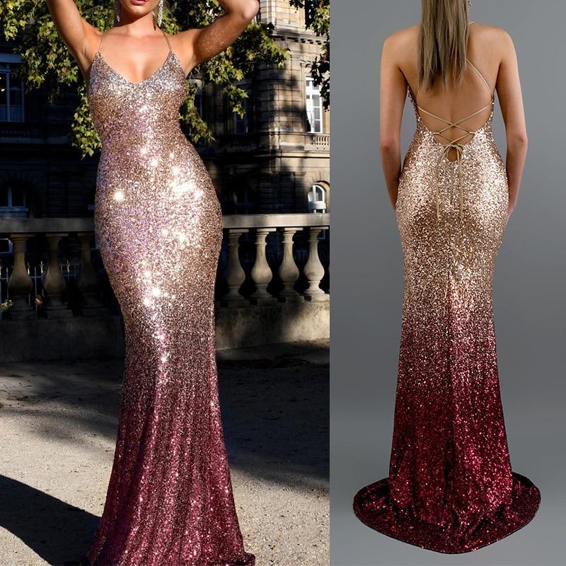 Vestido paetê feminino, decote em v alça lantejoulas gradiente sensual festa 2020 vintage elegante