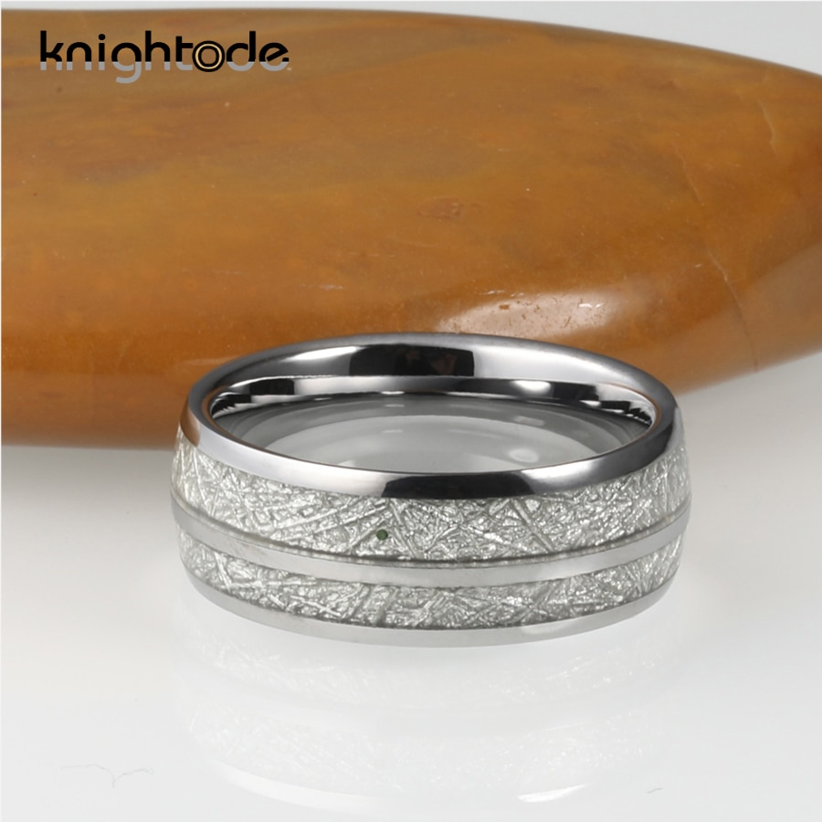2 Grooves Meteorite 8mm Tungsten Carbide Wedding Band Dome Polished Rings Comfort Fit