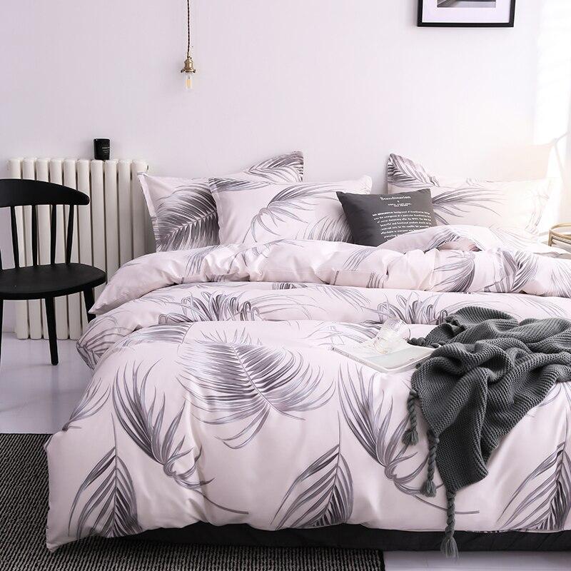 طقم مفارش سرير فاخر على الطراز الأوروبي ، ريش ، أبيض ، رمادي ، عصري ، مقاس كينغ/كوين ، غطاء لحاف ، هدية