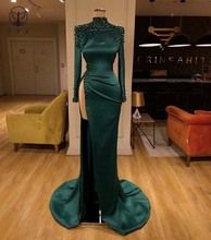 Sexy Dark Green High Collar Beaded Pearls Long Sleeve Thigh High Slit Sheath Evening Dresses